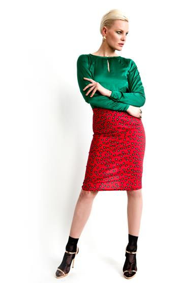 Green top with alice red print pencil skirt