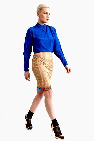 Victorian Long Cuff Mandraine Blue top, Gold skirt